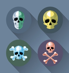 Skull and bones set flat style vector image