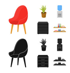 A red chair with a comfortable back an aloe vector