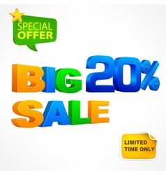Big sale twenty percent inscription vector image