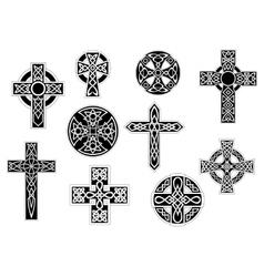 Black and white decorative christian crosses vector
