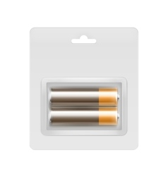 Brown alkaline aa batteries in blister packed vector