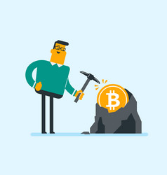 caucasian man with pickaxe working in bitcoin mine vector image