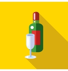 Champagne with a glass icon flat style vector image