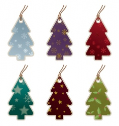 Christmas tree tags vector image vector image