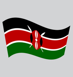 flag of kenya waving on gray background vector image