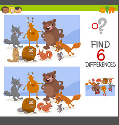 Game of differences with animals vector