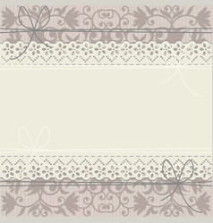 lace frame on luxury floral ornament vector image