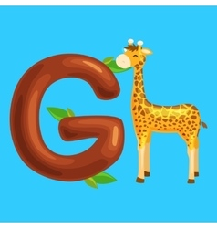 Letter with animal giraffe for kids abc education vector