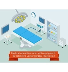 Medical operation room with equipment 3d vector