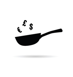 pan with euro and dollar sign on white vector image vector image