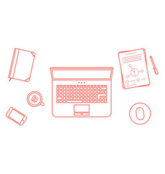 Red thin line business office workspace items vector