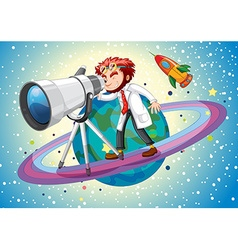 Scientist with giant telescope vector image vector image