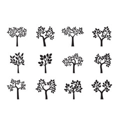 set of black trees and leafs vector image vector image