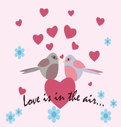 Two pigeons with love heart vector image