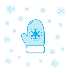 winter mitten and snowflakes vector image