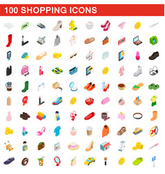100 shopping set isometric 3d style vector