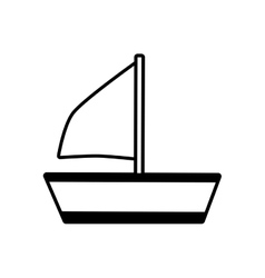 Outline sailing ship recreation travel beach vector