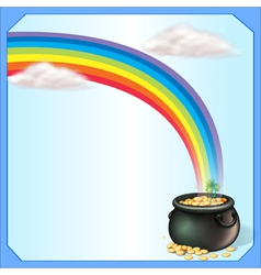 A rainbow and the pot of coins vector