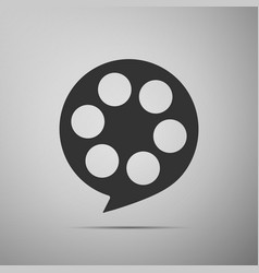 Film reel flat icon on grey background vector