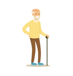 Grey smiling senior man standing with cane vector