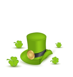 Green hat with buckle with clovers in saint vector