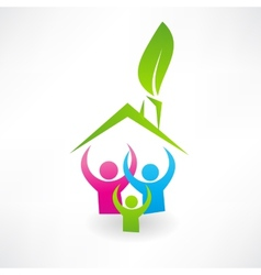 Ecological house and family icon vector image