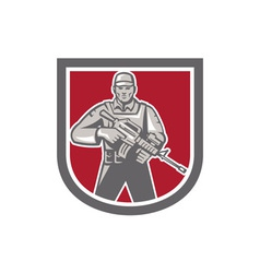 Soldier serviceman with assault rifle shield vector