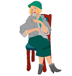 Retro girl sitting on the chair in green hat vector