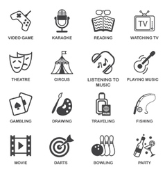 Entertainments icons set vector image