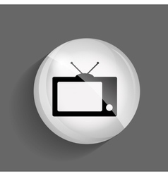Tv glossy icon vector