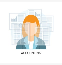 Accounting icon with businesswoman vector