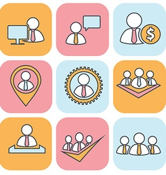 Human resources and management thin line icons set vector