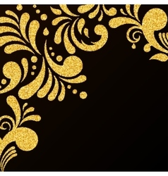 Gold glitter floral invitation card vector
