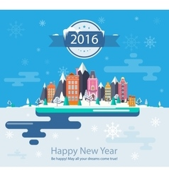 Winter landscape and city vector