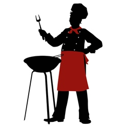 Silhouette chef cooks barbecue steaks vector