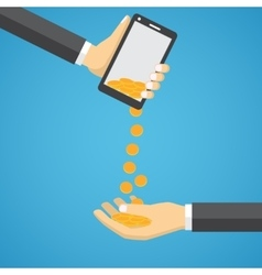 Gold coins falling from mobile phone vector