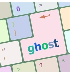 Ghost word on keyboard key notebook computer vector
