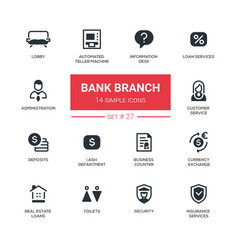 bank branch - modern simple icons pictograms set vector image vector image