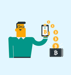 Bitcoin coins relocating from phone into wallet vector