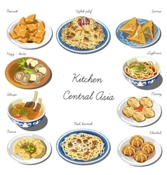 Central asia cuisine set collection of food vector