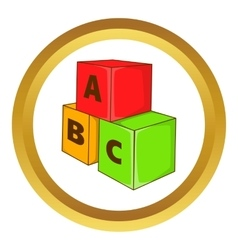 Children cubes with letters icon vector image