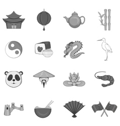 China icons set black monochrome style vector
