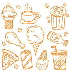 Collection of various fast food doodles vector