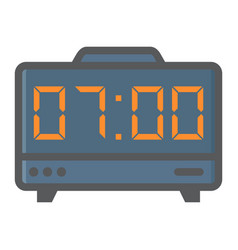 Digital clock colorful line icon electronic alarm vector