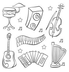 Doodle of music element various vector