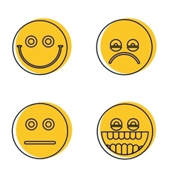 Emoji emoticons icons in line style vector image vector image