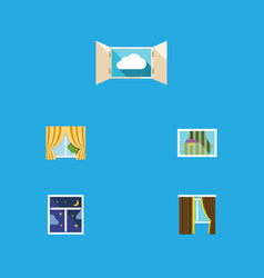 flat icon frame set of cloud glass frame curtain vector image