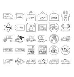 free shipping icon set vector image vector image
