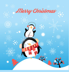 Funny christmas card with penguins vector