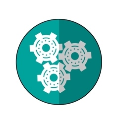 Gear wheel engine cog icon shadow green vector